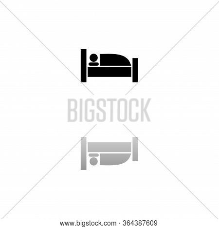 Sleep. Black Symbol On White Background. Simple Illustration. Flat Vector Icon. Mirror Reflection Sh