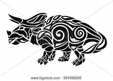 Beautiful Tribal Tattoo Illustration With Black Triceratops Stylized Silhouette Isolated On The Whit