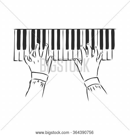 Sketch Illustration Of Human Hands Playing The Piano On A Retro Background. Musical Creative . Hands
