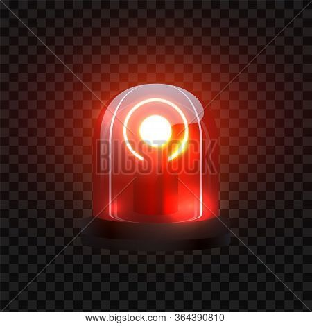 Realistic Red Siren. Blink Lighting Like Security Lamp Attention. Vector Emergency Police Flasher On