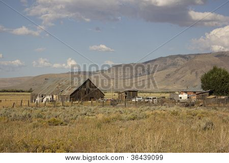 Old barn in a very large field - Loyalton California