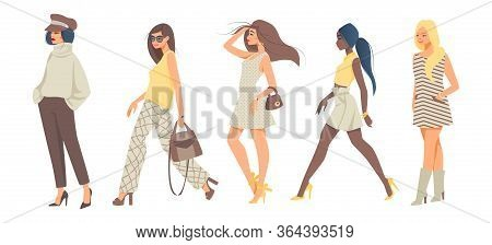 Trendy Women. Cartoon Stylish Girl Characters Wearing Stylish Casual And Hipster Fashion Clothes. Ve