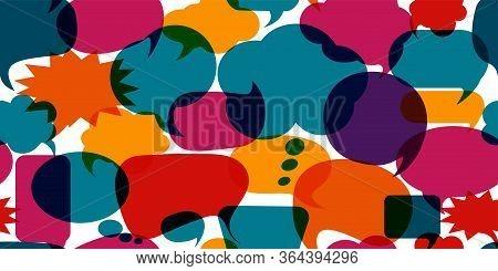 Colored Speech Bubble. Communication Concept. Social Network. Colored Cloud. To Speak - Discussion.