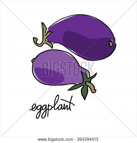 Eggplant, Aubergine. Colorful Vector Illustration With Hand Lettering. Perfect For Coloring Book, Te