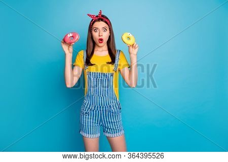 Portrait Of Her She Nice Attractive Glamorous Amazed Stunned Girl Holding In Hands Two Sugary Donuts