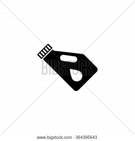 Motor Oil Canister, Car Engine Lubricant. Flat Vector Icon Illustration. Simple Black Symbol On Whit