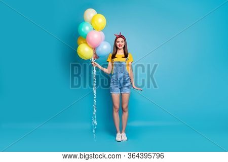 Full Length Body Size View Of Her She Nice Attractive Cheerful Cheery Girl Holding In Hands Bunch Ba