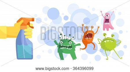 Colorful Cartoon Bacteria And A Gloved Hand Spraying Anti-bacterial Spray From A Spray Bottle In A H