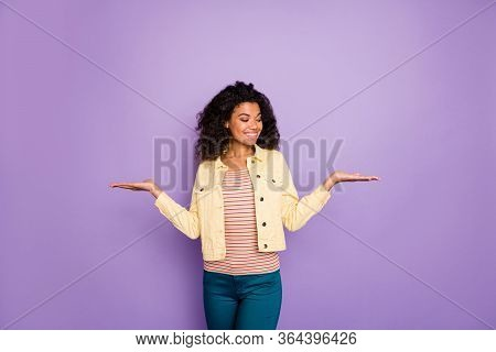 Portrait Of Confident Cool Afro American Girl Promoter Hold Hand Select Suggest Ads Choose Decide Ad