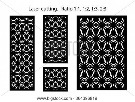 Set Of Decorative Vector Panels For Laser Cutting. Lazer Template For Interior Partition In Arabesqu