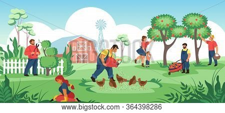 People In Garden. Cartoon Farmers And Gardeners Working Together, Plant Crops And Flowers, Work In S