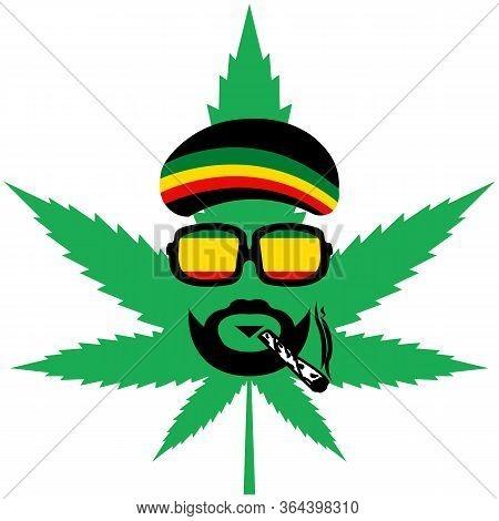Cannabis Or Marijuana Green Leaf - Jamaican Rasta Hat - Reggae Style Avatar - Rastaman
