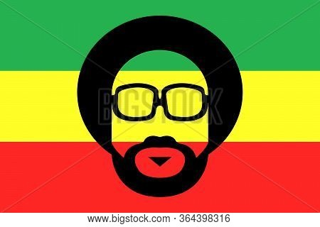 Rastaman On Grunge Rastafarian Flag - Jamaican Rasta Hat - Reggae