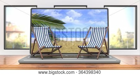 Beach Chairs On A Laptop, Business Office Background. 3D Illustration