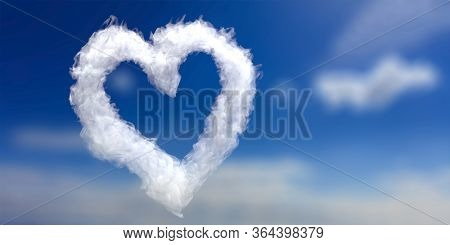 Valentine Day Template. Heart Shape Cloud On Blue Sky Background. Love Is In The Air. Realistic Whit