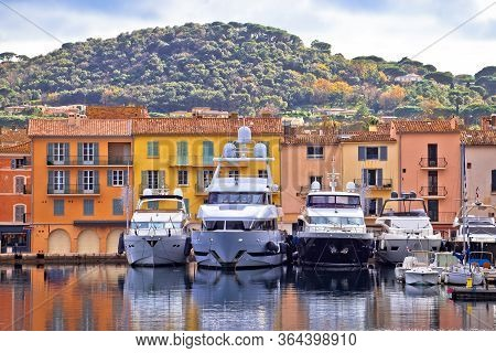 Colorful Harbor Of Saint Tropez At Cote D Azur View, Alpes-maritimes Department In Southern France