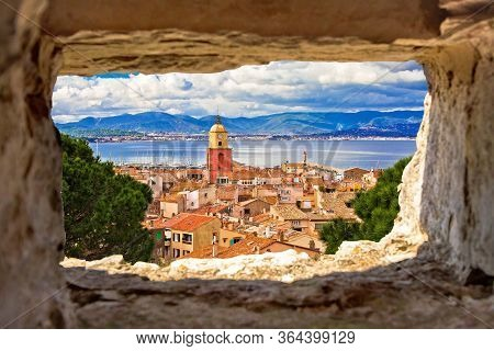 Saint Tropez Village Church Tower And Old Rooftops View Through Stone Window, Famous Tourist Destina