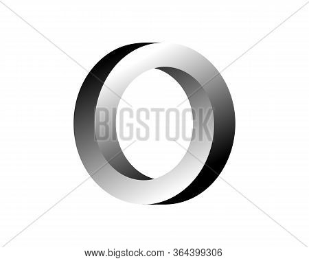 Abstract Gray 3d Spiral Shape. Vector Dimensional Object. Geometrical Polygonal Dimensional Object.