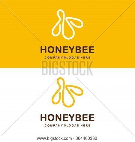 Bee Logo. Honeybee Logotype Template. Continuous Line Logo. Simple Vector Design.