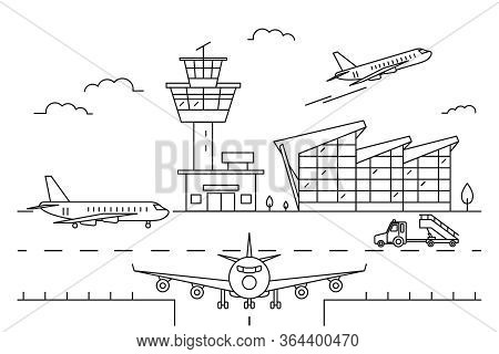 Airport Landscape Scene Black Linear Style Include Of Building And Airplane. Vector Illustration Of