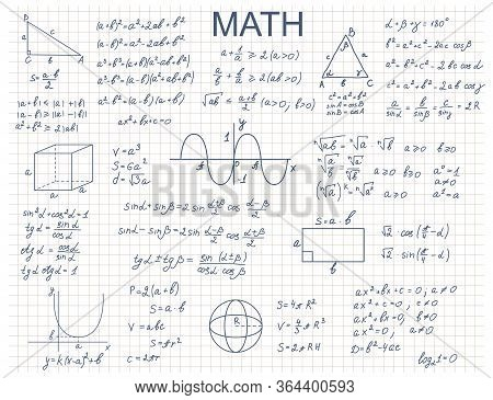 Doodle Math Algebra Concept Contour Linear Style Include Of Formula And Graph. Vector Illustration O