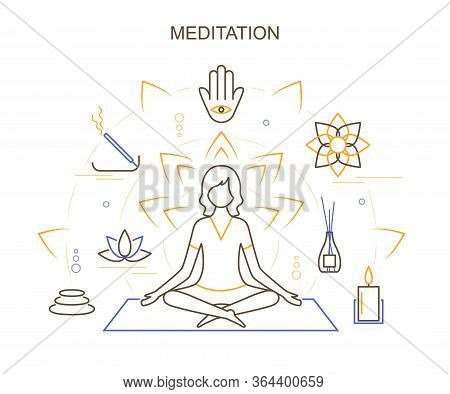 Meditation Practices And Character Person Female In Lotus Position Concept Contour Linear Style. Vec