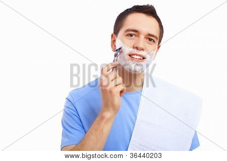 Young man at home shaving himself in the morning poster