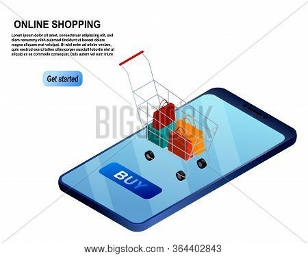 Isometric Smartphone Online Shopping Concept. Online Stores. The Concept Of Mobile Marketing And E-c