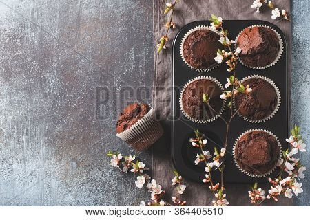 Chocolate Cacao Muffins Flat Lay With Flowers Branches, Mothers Or Fathers Day Concept, Top View, Co