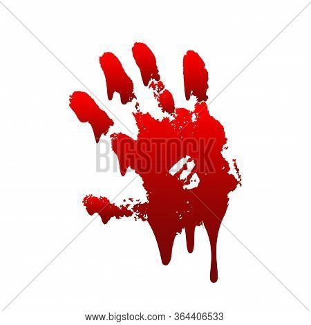 Bloody Hand Print 3d Isolated White Background. Horror Scary Drip Blood Dirty Handprint, Fingerprint