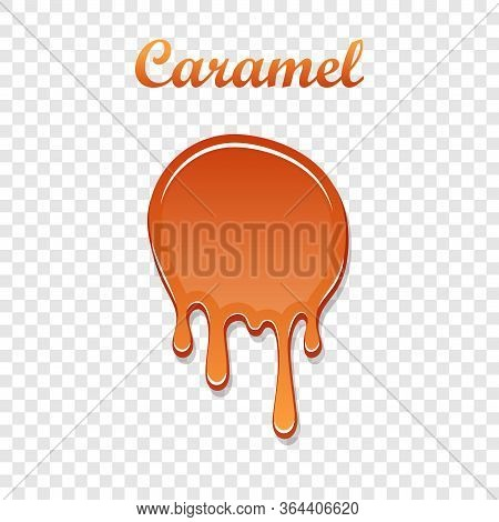 Caramel Drop 3d. Realistic Caramel Melted Sauce. Flow Liquid Isolated White Transparent Background.