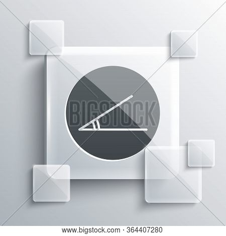 Grey Acute Angle Of 45 Degrees Icon Isolated On Grey Background. Square Glass Panels. Vector Illustr