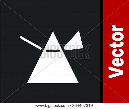White Light Rays In Prism Icon Isolated On Black Background. Ray Rainbow Spectrum Dispersion Optical