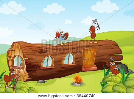 illustration of ants and beautiful wooden house
