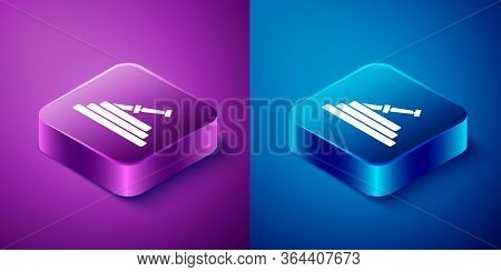Isometric Garden Hose Or Fire Hose Icon Isolated On Blue And Purple Background. Spray Gun Icon. Wate
