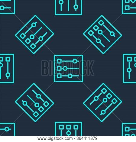 Green Line Car Settings Icon Isolated Seamless Pattern On Blue Background. Auto Mechanic Service. Re
