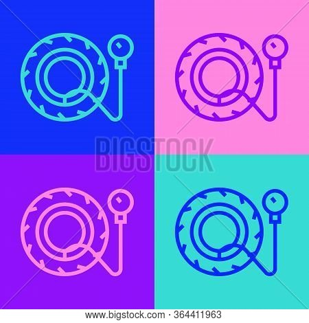 Pop Art Line Tire Pressure Gauge Icon Isolated On Color Background. Checking Tire Pressure. Gauge, M