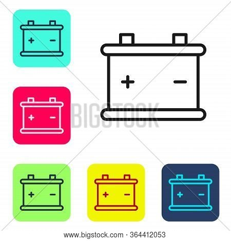 Black Line Car Battery Icon Isolated On White Background. Accumulator Battery Energy Power And Elect