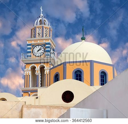 Catholic Cathedral Church Of Saint John The Baptist In Fira On Santorini Island, Cyclades, Greece