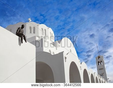 Fira, Santorini, Greece - March 6, 2018: Orthodox Metropolitan Cathedral Church Of Candlemas Of The