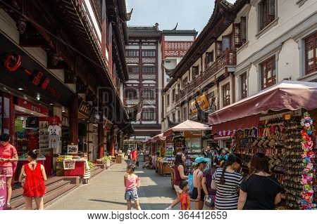 Street Markets And Tourist Shops At The Old City God Temple Commercial Area In The Old Part Of Shang
