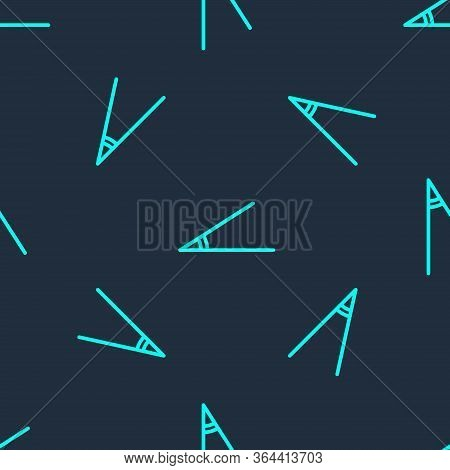 Green Line Acute Angle Of 45 Degrees Icon Isolated Seamless Pattern On Blue Background. Vector Illus