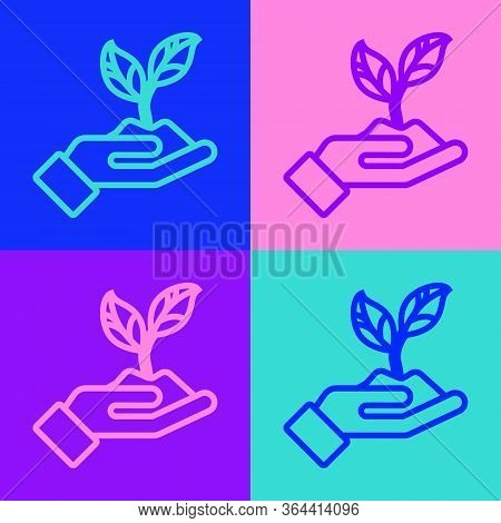 Pop Art Line Plant In Hand Of Environmental Protection Icon Isolated On Color Background. Seed And S