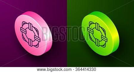 Isometric Line Lifebuoy Icon Isolated On Purple And Green Background. Lifebelt Symbol. Circle Button