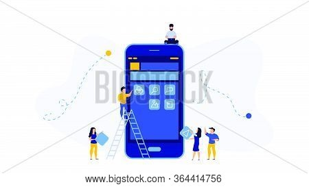 Mobile App Development Vector Concept Illustration Design. Application Create Business Phone Web Int