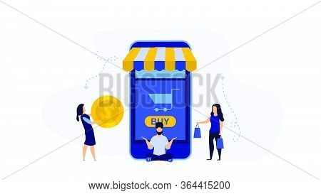 Retail Buying Vector Display Smart Product Illustration Shopping Store. People Buy Store Bag Shop Ma
