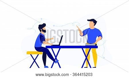 Teacher Learning Education Vector Illustration School Classroom With Laptop. Cartoon Student Lesson
