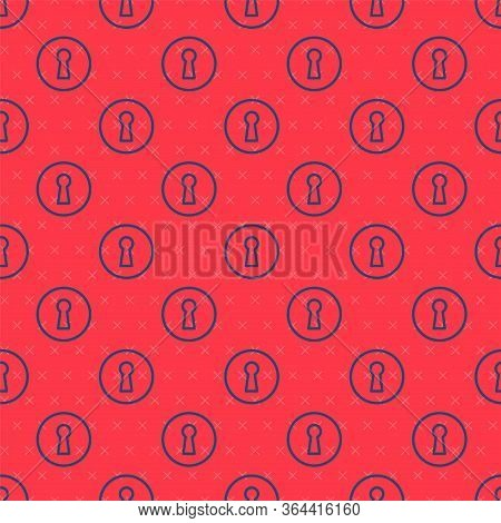 Blue Line Keyhole Icon Isolated Seamless Pattern On Red Background. Key Of Success Solution. Keyhole