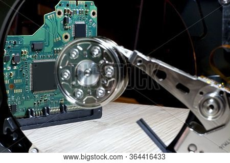 Hard Disk Driver - Hardware Electronic Control. Computer Component For Writing And Reading Data.