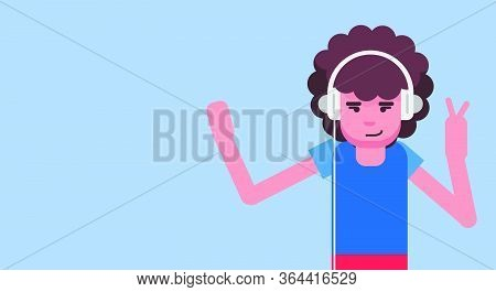 Girl In Headphone Listening Music Vector Illustration Lifestyle. Sound Listen Cartoon Teenager Chara